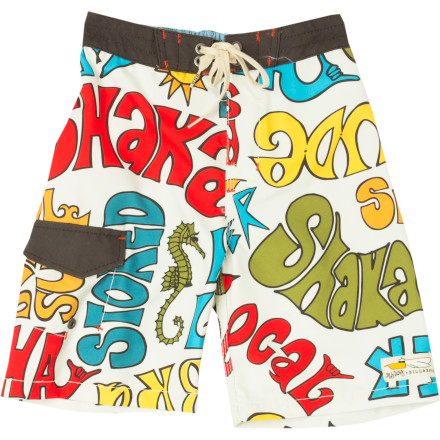 Surf Your little man learned the thumbs-up, high-five, and peace sign before he could handle a spoon, but hopefully you saved the 'shaka' for after he learns to speak so he can add a 'hang loose' after he suits up in the Billabong Little Boys' Shaka Board Short. - $22.25