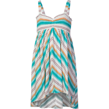 Surf The Billabong Girls' Out Of Orbit Bandeau Dress achieves stellar summer style through a chevron-striped print, smocked bodice, and thick straps. Out of this world. - $15.98
