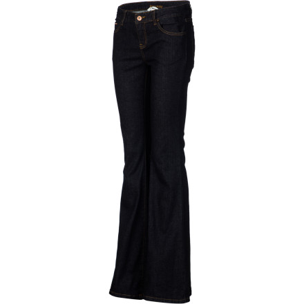 Surf The Billabong Women's Jagger Flare Denim Pants are waiting for you to put them on and take them out. They won't, however, mind waiting to leave so you have time to admire yourself in the mirror wearing these lacy jeans. You'll need a few minutes to let all that sexiness soak in. - $51.16