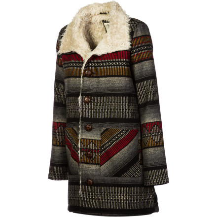 Surf The Billabong Women's Zippora Jacket harnesses authentic Southwestern style and blends it with the luxurious comfort of Sherpa fleece. This jacket is great evenings out when the weather is chilly, but you aren't willing to skimp on fashion. - $90.62