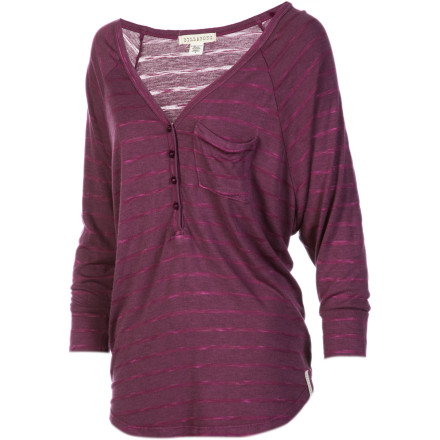 Surf The Billabong Women's Rider Long-Sleeve Shirt is one of those easygoing tops you can throw on with a pair of jeans and instantly look good. Whether you're heading on a blind date or out with your lady friends, this henley throws out a laid-back vibe that makes you look great without making you look like you were even trying. - $35.51