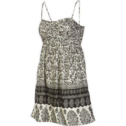 Surf Few things are as simple as the strappy mini-dress, but with adjustable spaghetti straps, self-binding front closure, and swirly paisley print, the Billabong Women's Topanga Dress proves that comfy and simple can be scorchingly sexy. - $35.51