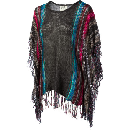 Surf Nothing embodies free and easy coverage like a pretty poncho, so consider the Billabong Women's Worlds Apart Sweater your ultimate liberation. With light and airy cotton-viscose blend, multicolor stripes, and sassy fringe, it lifts the spirits and beautifies the soul. Wear it over leggings or skinny jeans for a supercombo of comfort and style. - $59.45