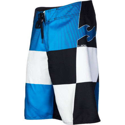 Surf You'd better be on your game when you're wearing Billabong Finish Line Boardshorts. With the Finish Line's giant checked pattern, everybody will be able to spot you from the beach. - $42.95