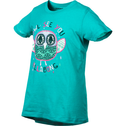 Surf The Billabong Girls' Owl See You Short-Sleeve Shirt easily wins you and your gal over with its super-cute owl graphics. - $13.62