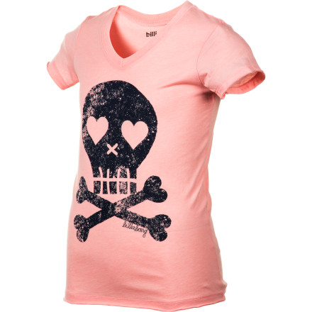 Surf At first glance the Billabong Girls' Skulls Shirt may look scary, but look closer and you'll see the loving heart-shaped eyes in these sassy skulls. Fun, flirty, and full of innocent sass, this easy-wear and easy-care tee is everyday wearable. Your mini me can do her chores, play ball, go to the beach, and then with that added skull flair go to a party or movie night. Because heart-eyed skulls go with everything. - $13.62