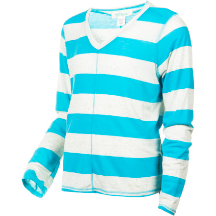 Surf The Billabong Girls' Flashback Long-Sleeve Shirt uses bold stripes to add a little extra retro sass to your girl's wardrobe, and whose wardrobe couldn't use a little extra sass - $10.31