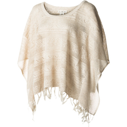 Surf Pull on the Billabong Road Trippin Poncho over your favorite tank and get ready to enjoy the open road. Whether your journey is a solo one or an excuse to get rowdy with your besties, this playful poncho will be your road map to cozy and cute style. - $41.62
