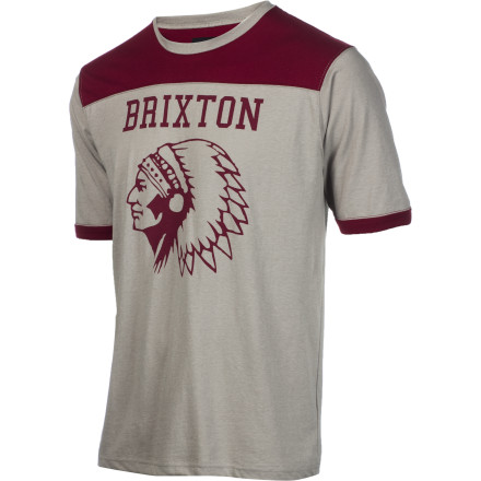 For times when it's unacceptable to show off your chest tattoos, reach for the Brixton Men's Stadium Crew. Cotton jersey feels nice and smooth to the touch, and the short-sleeve cut gives your arms some room to breath when it's hot enough to melt steel on the sidewalk. - $26.57
