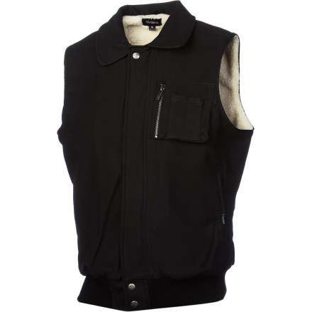 What would you do if you if you really wanted to wear your faux leather jacket but wearing sleeves was just completely out of the question Reach for a pair of scissors and do a number on that jacket. Or you could just grab the Brixton Wolf Vest. It's just as good as a faux leather jacket, but without those troublesome sleeves. - $54.57