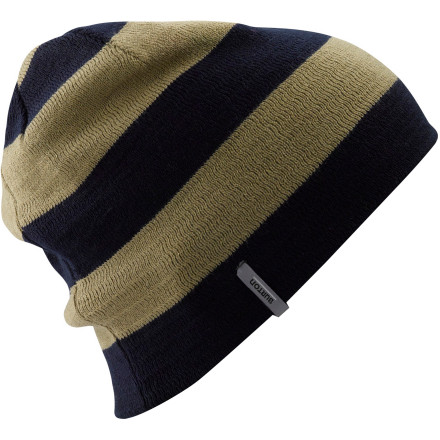 Snowboard The Burton Silverman Beanie saves you from looking like a douche when the temps drop. The striped side gives you some poppin' steeze, and the solid side brings it down a notch when you need it. - $12.57