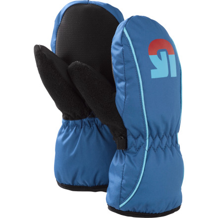 Snowboard Burton made the Minishred Grommitt Mitten with the same warmth and durability found in the Burton men's glove line, so your toddlers hands stay warm and dry all day. A fleece cuff and Thermacore insulation pack in the heat, while the waterproof DryRide Ultrashell fabric and Insane Membrane block wetness. These Burton snowboard mittens' Toughgrip palms and pre-curved fingers help your grom with his/her first grabs. Zipper closures make these toddler mittens easy to put on and take off. - $13.74