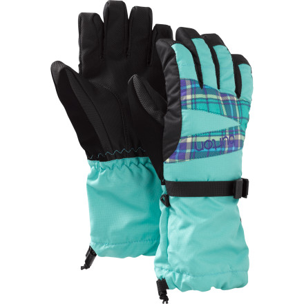 Ski Toss out your girls soaked gloves and grab the waterproof Burton Girls Glove. The tough DRYRIDE Ultrashell 2L fabric teams up with a DRYRIDE Insane Membrane insert to provide her cold-natured hands the waterproofing she needs to build the best snowman on the block or shred the best line through the park. The soft microfiber lining and Thermacore insulation keep her fingers toasty while she rides in another storm, but also allow her sweaty palms to vent through the breathable fabrics as she stands above her first tabletop. Grabbing chairs and ski poles is easy with the Toughgrip palm and with the tight closure and gauntlet she doesnt have to worry about snow getting inside when she drags her hand through the belly-deep snow. - $26.90