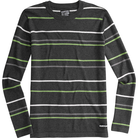 Snowboard Stripes or solids The Burton Men's Stowe Sweater gives you a choice and you don't need to do anything to earn it. That is, besides having a job or a relative that can pick up the tab. This cotton and wool blend won't make you itch like a fiend and the inherent classiness implied by a sweater will lube up many different kinds of social situations. - $32.97
