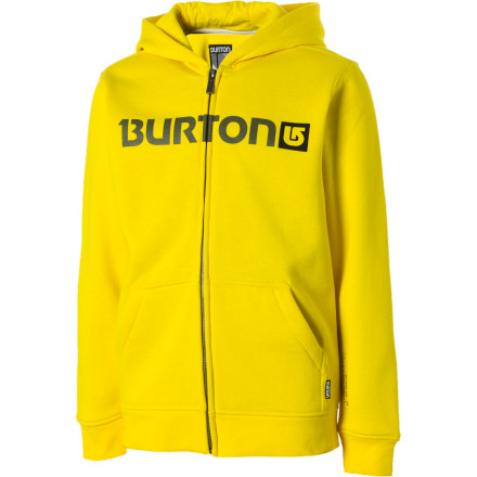 Snowboard Nothing says 'I'm the next up-and-coming super pro' quite like the Burton Boys' Logo Horizontal Full-Zip Hooded Sweatshirt. The Horizontal sweatshirt features a clean Burton word mark logo printed on a toasty 300g fleece made up of a soft and breathable cotton/poly blend. - $50.95