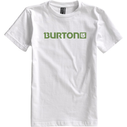 Snowboard Big-mountain sketches dominate the margins of his notebooks year-round, so it's guaranteed that he'll wear the Burton Boy's Logo Horizontal T-Shirt until he either out-grows it or it disintegrates from years of daily wear. - $10.77