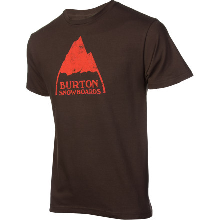 Snowboard The Burton Mountain Logo T-Shirt's old school logo takes you back to the days when there was a little less posturing and a lot more fun-having. When snowboarding was about being outside and ripping around in the snow, not about hanging out in the lodge and uploading photos of yourself in next season's jacket. - $14.67