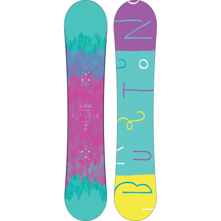 Snowboard Just because you don't have tiny feet doesn't mean you should have to ride a big, stiff men's board that's going to hold back your progression. Instead, jump on the Burton Feather Women's Mid-Wide Snowboard and notice your riding improve right away. The V-Rocker profile makes catching an edge a thing of the past, and the soft flex is as forgiving as it is fun. - $209.97