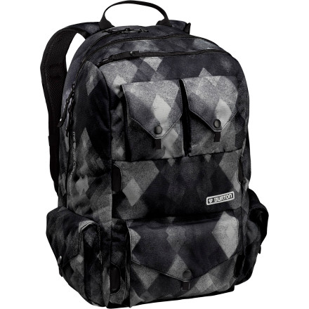 Skateboard The Burton White Collection 30L Backpack is customized for Shaun White, so you can bet it's good for anyone looking for a backpack with ample storage, durability, and style. Whether you're traveling the globe with snowboard in tow or hauling books around at school, this versatile pack is your personal shred-loving caddy. - $62.93