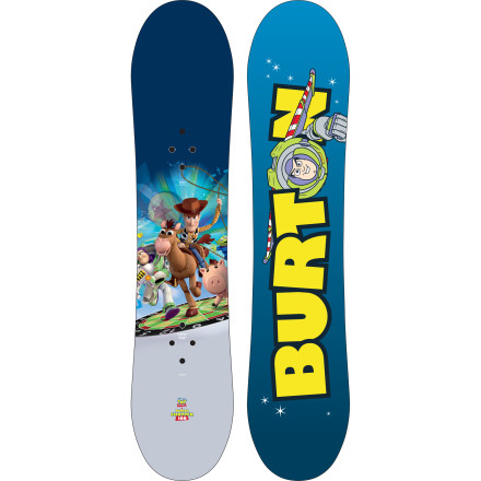 Snowboard While his classmates are playing with dolls and video games, your child is outside snowboarding every day on the Burton Chopper Toy Story Kids' Snowboard. Thanks to the incredibly forgiving flex and catch-free Flat Top profile, the only crying you're going to hear on the hill is when the lifts close. - $119.97