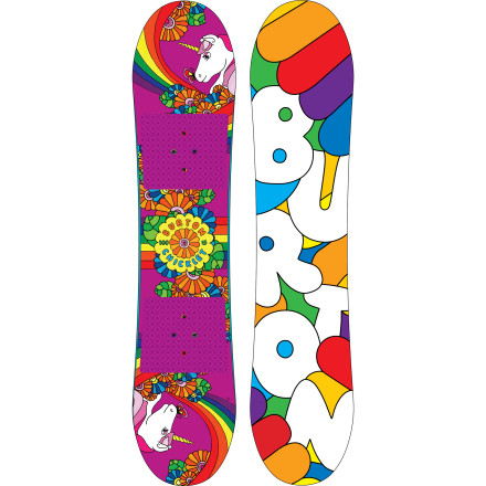 Snowboard The Burton Girls' Chicklet Snowboard now features the new Flat Top Profile and Easy Rider edge tune to takes the snag and drag out of picture for girls who are just learning to ride. She'll appreciate this ease even more than the ultra-cool graphics. - $107.97
