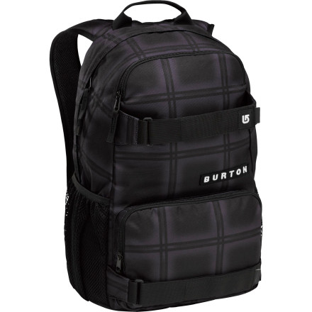 Skateboard The Burton Treble Yell 21L Backpack speaks volumes in terms of style and versatility. With 21 liters of space, the Treble Yell conveniently carries your skateboard, laptop, and books during the week and your gear for the hill on the weekend. - $39.95