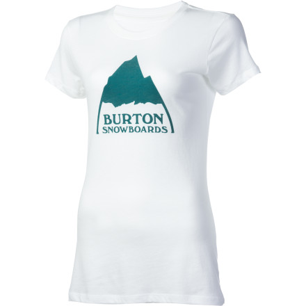 Snowboard The Burton Women's Mountain Short-Sleeve T-Shirt has a secret. While it may look just like another cute, well-fitting, Burton T-Shirt, it is has a big trick up its sleeve. A silicone treatment in the fabric means it won't wrinkle as easily, stains will have a harder time setting in, and if you get wet, you'll dry more quickly. Plus, the silicone makes it feel incredibly soft. - $13.77