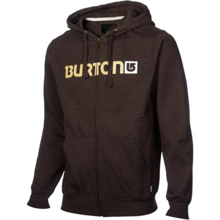 Snowboard The Burton Logo Horizontal Full-Zip Hooded Sweatshirt features Big B's Signature fita longer torso and sleeves, but not too baggy. There is a crafty little media stash pocket to securely keep your MP3 player in place so you can rock out wherever you go. The heavyweight 300g cotton and poly blend will keep you warm and toasty for struttin' around outside. - $41.21