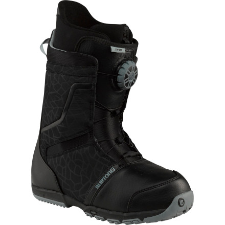 Snowboard Fussing with your laces while you should be out riding is a hassle that eats into your time on the mountain. Burton's Tyro Snowboard Boot answers with the Speed Dial Lacing System for a perfect fit that takes just a few seconds. The flexible Tyro provides gobs of comfort, so your days of perpetual foot-pain have come to an end. - $119.97