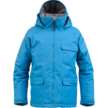 Snowboard Mid-winter chills and sogged-out gear will be down for the count thanks to the 100-gram Thermacore insulation and DryRide Durashell material found in the Burton Boys' TWC Prizefighter Jacket. It's kind of a one-two punch type of thing. - $53.96