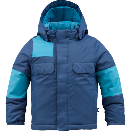 Snowboard If your little grom loves to shred but isn't so stoked on the cold, set him up with the Burton Toddler Boys' Minishred Fray Jacket. A grip of Thermacore insulation warms his core so the cold won't hold him back when he wants to play in the snow. - $63.20