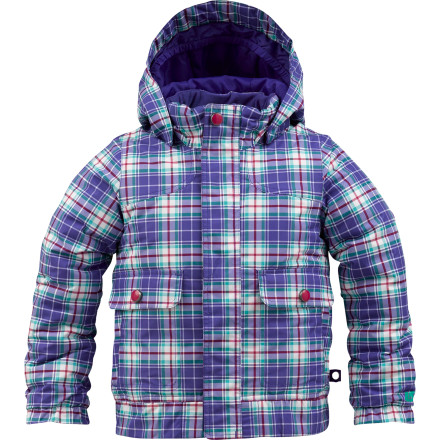 Snowboard Whether your little snow princess is learning how to ollie her snowboard or more into making snow angels, the Burton Little Girls' MiniShred Twist Bomber Jacket will keep her cozy and warm when she plays in the snow. - $51.73