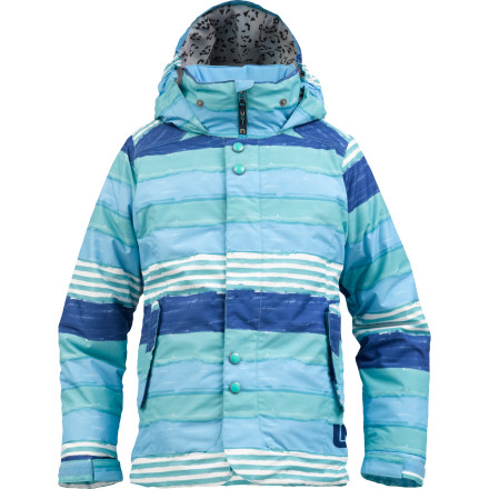 Snowboard Throw the Burton Girls Melody Jacket on your little lady before she heads for the mountain. Thick Thermacore insulation preserves her body heat in sub-freezing conditions, while the DRYRIDE Durashell laminate shields her from the layer of snow covering her at the top of each lift ride. Plus, while this jacket is busy keeping her warm and dry, it also manages to keep her looking cute while she rides. - $104.96