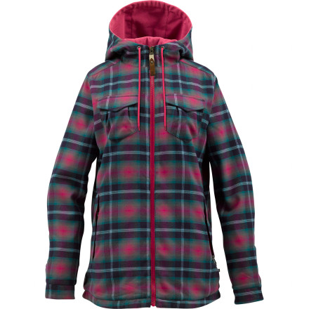 Snowboard Don't spend ten minutes stressing over which jacket best matches your outfit. Zip up in your Burton Women's Cleo Reversible Flannel Jacket end the commitment anxietyyou get two looks in one jacket so you can switch up halfway through the night without rocking any boats. If only choosing a date for the night was this easy. - $84.95