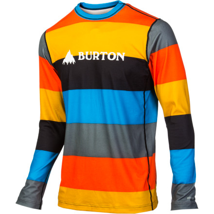 Snowboard Don't be fooled by its clean design, the Burton Midweight Crew is a serious high-performance top. Super-stretchy and breathable DRYRIDE Ultrawick synthetic fabric keeps you dry and comfortable without ever binding, no matter how contorted you become while you tweak. - $33.67