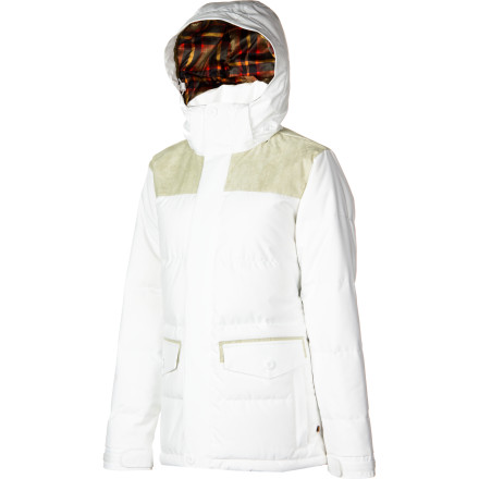 Snowboard The Burton Women's Foxx Down Jacket delivers the shred-worthy functionality and warmth you need to extract fun out of winter's coldest days and the style you crave to look good doing it. And when the day is done, you can strip away the Foxx's weather-fighting features (powder skirt, Hand Panties, and hood) to rock a more casual look. - $164.95
