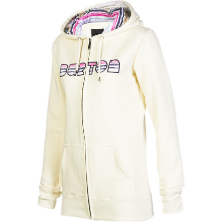 Snowboard Burton gave the Women's Gravity Hooded Sweatshirt awesome custom artwork in the hood and on the front applique, just so you can enjoy a hoody with extra character. Burton's signature fit is just right ... not too baggy, and not too lean. Just a nice bundle of coziness. - $38.97