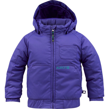 Snowboard Just because she's tiny doesn't mean she cant get after it. The Burton Little Girls' Mini Charm Jacket surrounds her with warm insulation and weather-blocking tech so she can work her burgeoning shredding skills all day without even noticing the cold. - $54.98