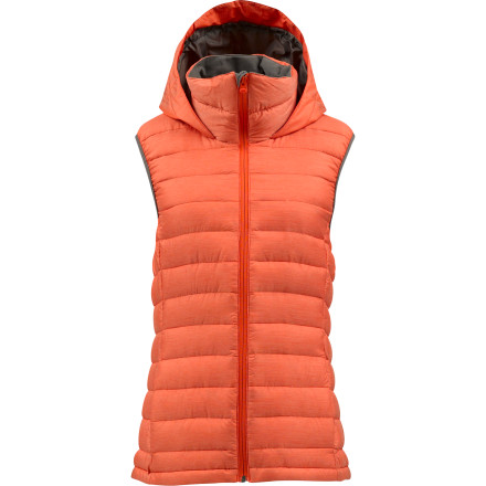Snowboard Whether you layer it up under a shell or sport it over your favorite long-sleeve, the comfort and warmth of the Burton Women's AK Squall Down Hooded Vest will keep your core happy every stepor slashof the way. - $95.97