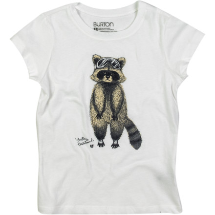 Snowboard When you stack up enough days on the hill, you will build up a solid goggle tan and probably look like the cute little critter on the Burton Girls' Raccoon T-Shirt. - $12.57