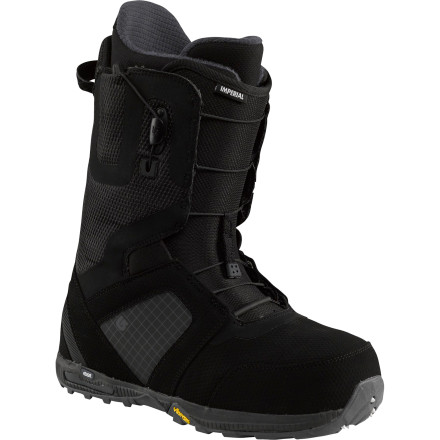 Snowboard The Burton Imperial Snowboard Boot was built for the rider that not only frequents the park but also retreats to the backcountry when the gettin is good. Either way, you need the  same freestyle skillset and require the same support and lightweight response. Whatever terrain you choose to conquer, the Imperial is equipped with a Vibram EcoStep outsole for increased traction for hiking wind-blown ridges or marching up icy steps for the 50th time to lock in a never-been-done trick on an urban handrail. - $179.97