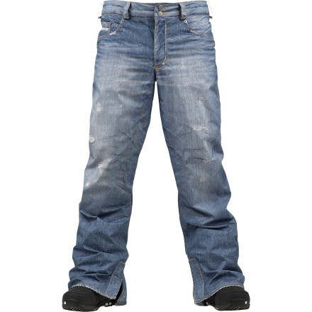 Snowboard A sublimated denim print meets full-on mountain-worthy features in the Burton Jeans Gore-Tex Jean Pant. As seen on magazines, videos, and yes, even TV, the Gore-Tex Jean Pant is a favorite among Burton's pro-shred squad for its good looks and superior waterproofing. - $167.94