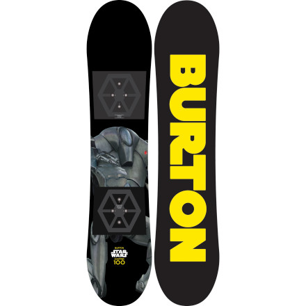 Snowboard A long time a go, on a mountain far away, an fearsome force of evil has pushed all the good guys to the outskirts of the slopes, claiming the park, powder, and groomers for themselves. Strap into the Burton Kids' Star Wars Chopper Snowboard and take back the mountain with the easy-to-ride Flat Top profile and soft flex faster than you can say 'scruffy-looking nerf-herder'. - $119.97