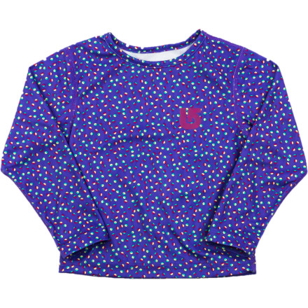 Snowboard The Burton Toddler Girls' MiniShred Long-Sleeve Top is a super-soft fleecy layer that works hard to keep your tiny lady warm, cozy, and dry. When she wears this under her snow gear moisture is quickly pulled away so she stays powder dry and toasty warm whether she's trying out her first snowboard or perfecting snow angels in the backyard. - $17.97