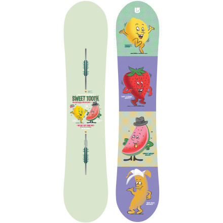 Snowboard Take your lovesick infatuation with the sugary slopes to the next level with the all-new Women's Sweet Tooth Snowboard by Burton. The Sweet Tooth will deliver a buzz for blasting booters and a fix for freestyle flex with a confection comprised of floaty and poppy technology including Nug Raduction, Scoop tips, and Flat Top profiling. That is sweet. - $269.97