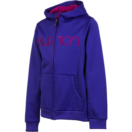 Snowboard The Burton Scoop Fleece Girls' Hooded Jacket is made with soft and warm DryRide Thermex for quick-drying action that makes it perfect for layering under a shell, but also makes it comfortable enough to be an everyday hoodie that you won't want to take off even after you get home from the mountain. - $35.97