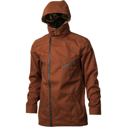 Snowboard If a moto jacket and a workshirt  got all hopped up on Nikwax fumes and made a baby, it might look kind of like the Cappel Thieves Jacket. With an asymmetrical zipper and a convertible collar design, the Thieves Jacket hooks up blue-collar style with enough tech to shield you from the elements. - $103.48