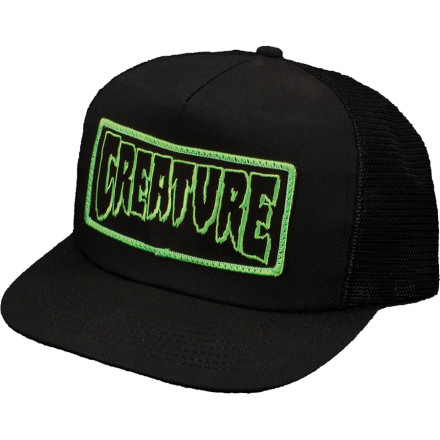 Skateboard After last night, you can't remember your name, but the Creature Skateboards Patch Trucker Mesh Hat has the word 'Creature' on it, so maybe you should just start going by that. - $14.20