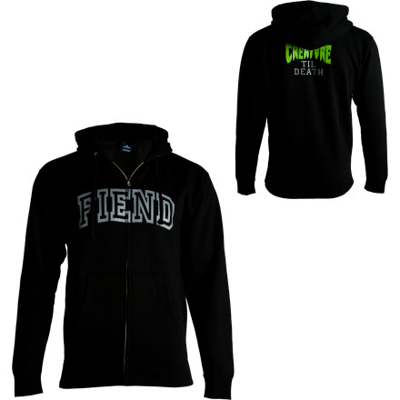 Skateboard Junkie. Addict. Skater. You have many labels to describe your addiction, so go ahead and put it on display with the Creature Men's Fiend Full-Zip Hooded Sweatshirt. - $31.17