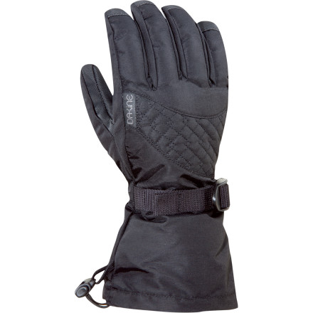 Snowboard Slip your fingers into the DAKINE Womens Lynx Glove and charge the slopes without fear. This womens-specific glove wont break the bank, and delivers DAKINEs trusted technology and design features. The Lynxs Weathershield shell fabric keeps most weather conditions from ruining your day, while DAKINEs Thermoloft insulation keeps your fingers toasty. A soft tricot lining adds to your comfort by wicking away excess moisture. Tighten the Lynxs drawstring over your jacket cuff and seal out snow and wind. On extra-cold days at the resort, stash a heat pack in the Lynxs heat-pack pocket and warm up your digits. - $11.98